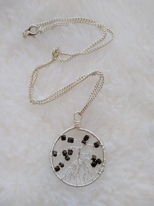 "silver 1.5"" pendant with dark brown barrel beads on 18"" silver chain"