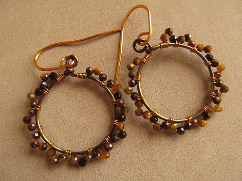 Handmade natural tiger eye tiny vintage bronze hoop earrings