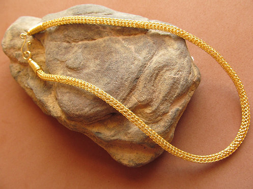 Handmade necklace thin choker of knitted gold