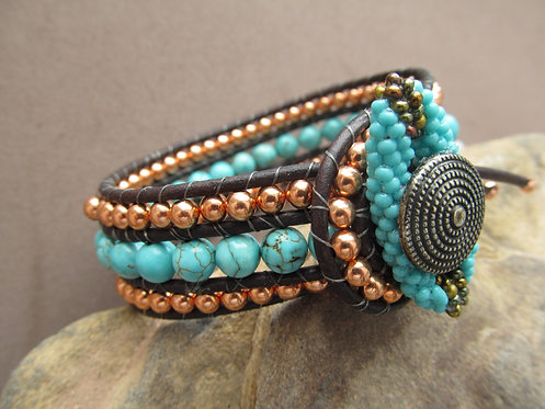 Handmade leather wrapped cuff bracelet natural turquoise and copper