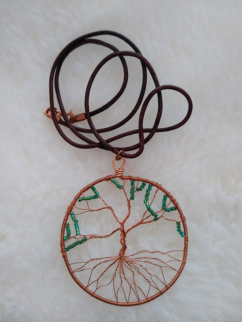 "copper 2.25"" pendant with green beads on 22"" leather cord"
