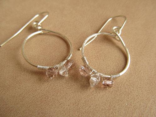 Handmade princess crystal tiny silver hoop earrings