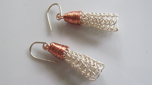 Handmade earrings of knitted silver wire and lead free copper