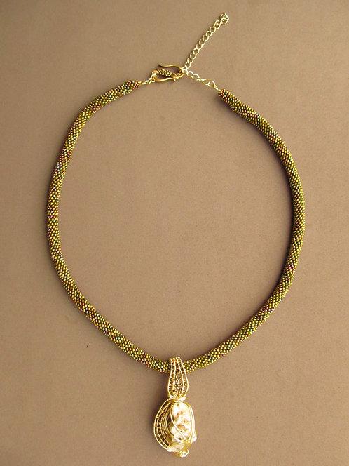 Handmade Necklace of iridescent gold glass beaded strand