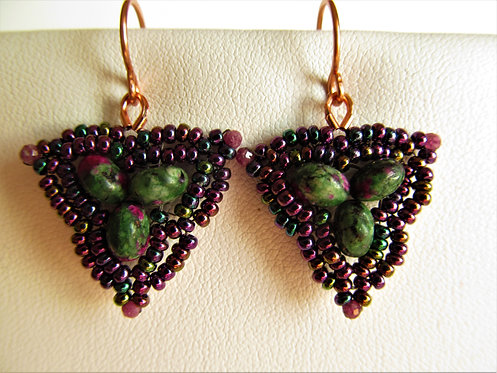 Handmade earrings of glass and ruby zoisite on copper