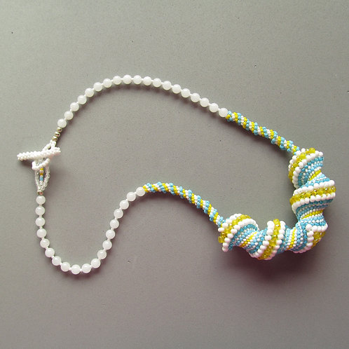 Handmade Necklace of colorful summertime beaded wave crest