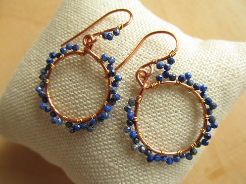 Handmade natural lapis lazuli tiny copper hoop earrings
