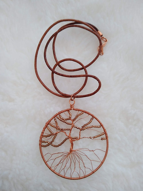 "copper 2.25"" pendant with coffee beads on 22"" leather cord"