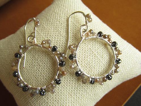 Handmade moonstone and hematite tiny silver hoop earrings