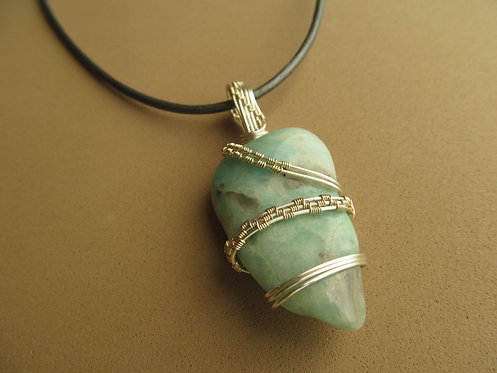 Handmade Necklace of amazonite on charcoal grey leather cord