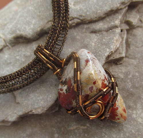 Handmade wire wrapped jasper pendant necklace on brass chain