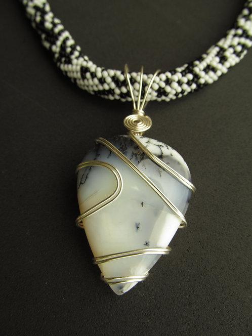 Handmade Necklace of moss agate teardrop pendant on black & white beaded strand