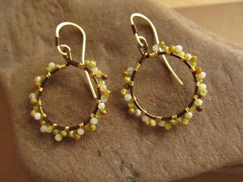 Handmade natural yellow opal tiny vintage bronze hoop earrings