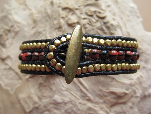Handmade leather wrapped cuff bracelet brass and mottled glass