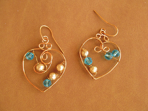 Handmade turquoise and gold glass on bronze hoop valentine earrings