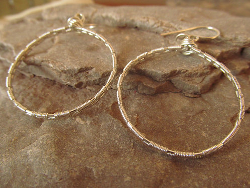 Handmade wire wrapped silver hoops