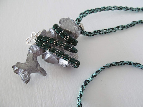 Handmade Necklace of aluminum nugget on braided cord