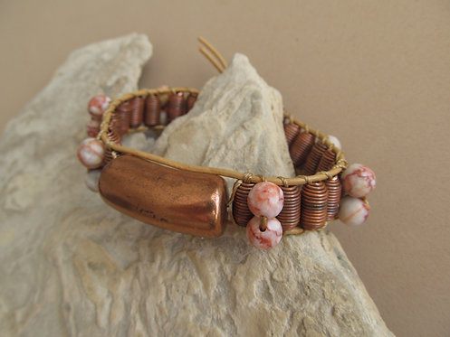 Handmade leather wrapped cuff bracelet copper and red web jasper