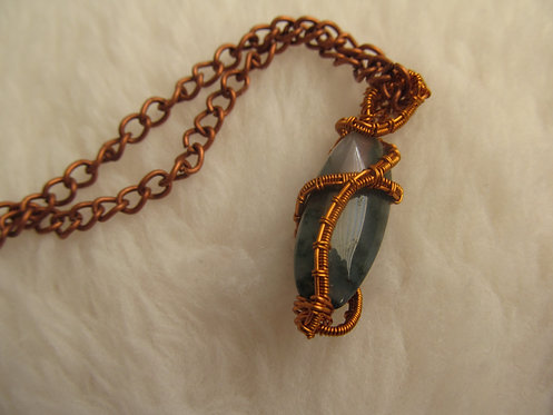 Handmade small moss agate copper necklace