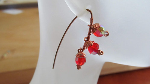 Handmade earrings threaders of red-orange fire-polished glass and copper