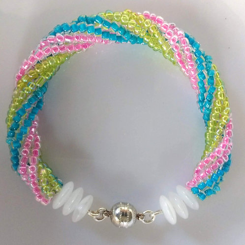 Handmade bracelet spiral of sparkly spring colors with silver magnet