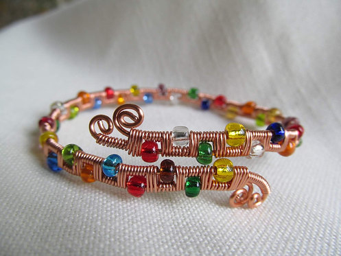 Handmade adjustable bracelet of rainbow Czech glass and copper