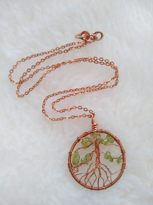 """copper 1.5"""" pendant with peridot chunks on 19"""" copper chain"""