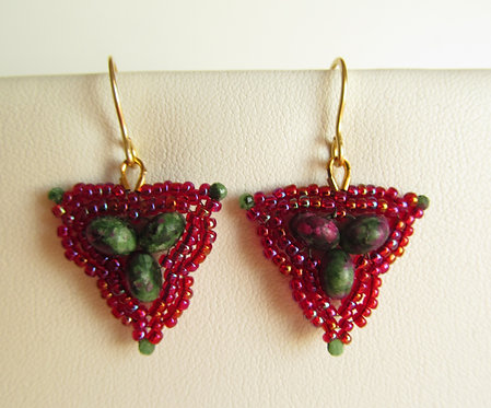 Handmade earrings of glass and ruby zoisite on gold