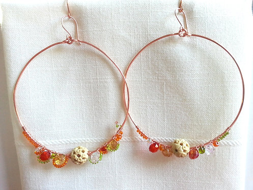 Handmade earrings large hoops of copper wire with bone and glass beads