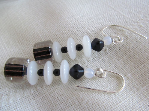 Handmade earrings drops of white and black with gold stripe glass