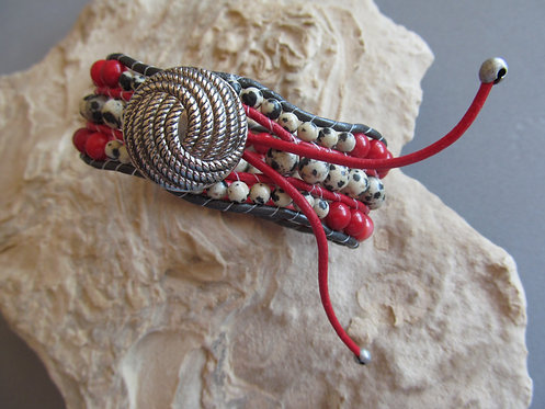 Handmade leather wrapped cuff bracelet dalmatian jasper