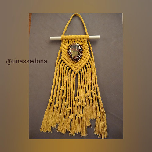 Small mustard macrame with raw Utah jasper & golden glass