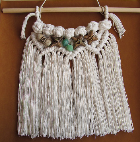 13 Inch White Macrame Wall Artistic Hanging Decor With Beads