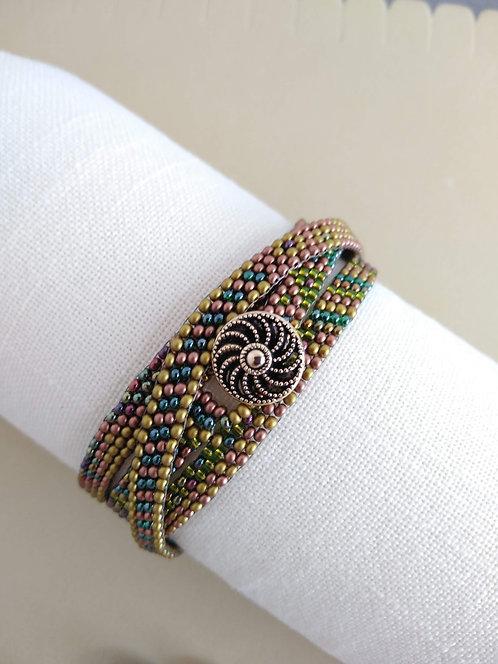 Handmade Southwestern wrap necklace jewel tone glass