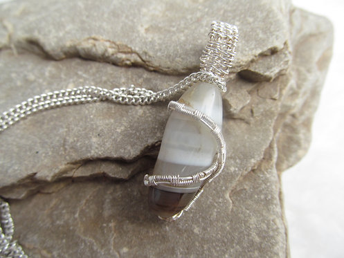 Handmade wire wrapped fluorite pendant necklace