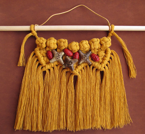 10 Inch Mustard Macrame Wall Artistic Hanging Decor With Beads