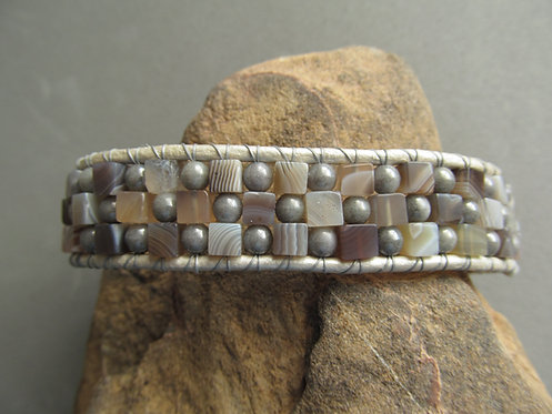 Handmade leather wrapped cuff bracelet grey glass and agate