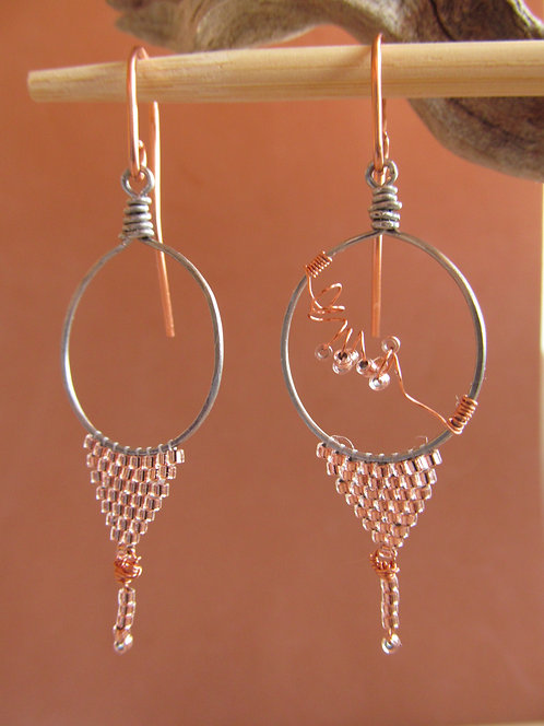 Handmade beaded copper glass triangle gun metal hoop earrings