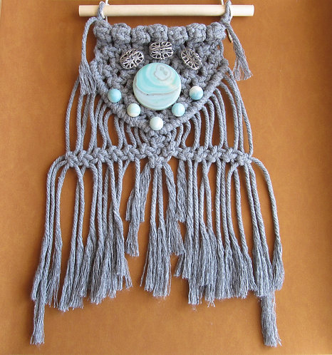 13 Inch Grey Macrame Wall Artistic Hanging Decor With Beads