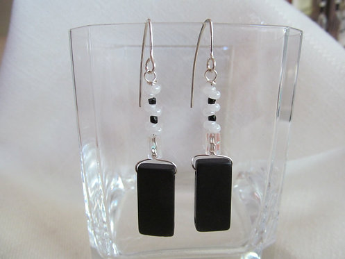 Handmade earrings threaders of white and black on sterling silver