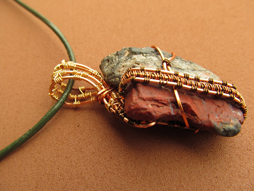 Handmade Necklace of raw dark red jasper stone on grey-green leather cord