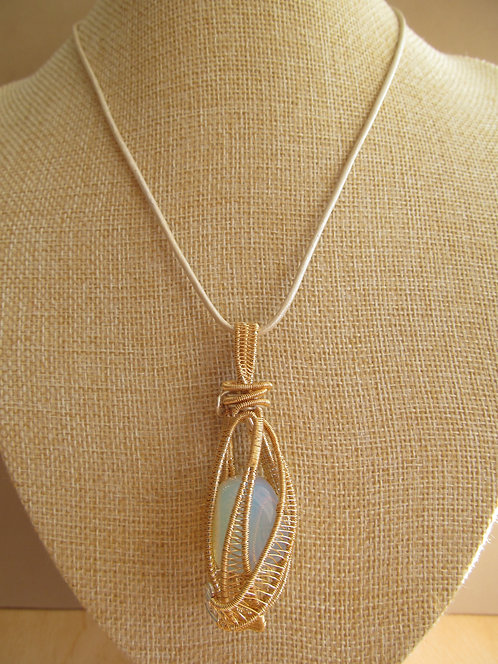 Handmade Necklace of moonstone on champagne leather cord