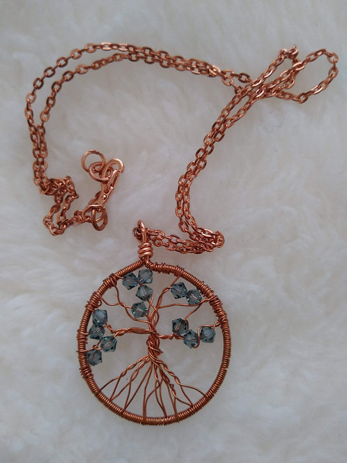 "copper 1.5"" pendant with blue rondelles on 19"" copper chain"