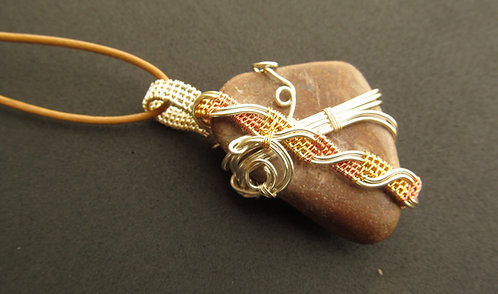 Handmade Necklace of tricolor wire wrapped smooth sandstone on tan leather