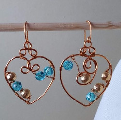 turquoise and gold glass on bronze hoop valentine earrings