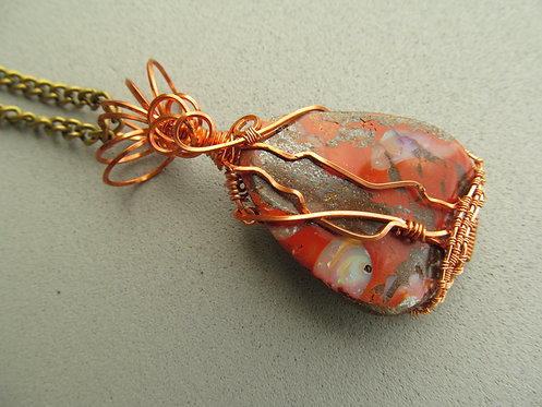 Handmade Necklace of boulder opal on brass chain