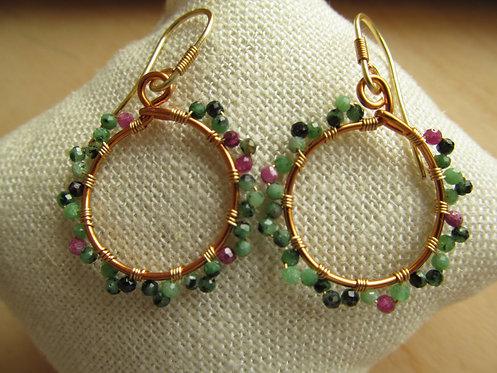 Handmade ruby zoisite tiny bronze hoop earrings