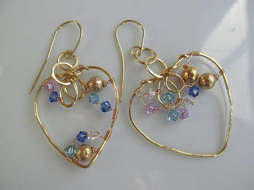 Handmade blue Swarovski crystalson gold hoop valentine earrings