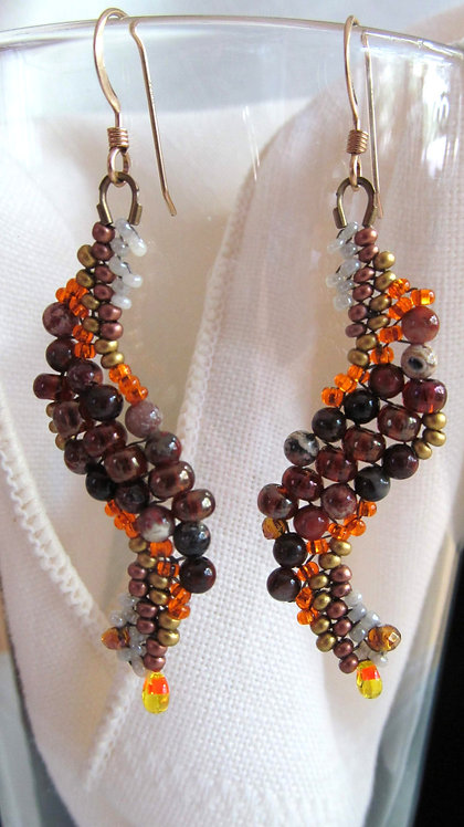 Handmade earrings of hand beaded jasper glass and crystal on gold ear wires