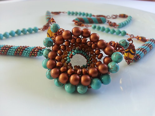 Handmade Necklace of turquoise & glass with modified Cellini spiral pendant